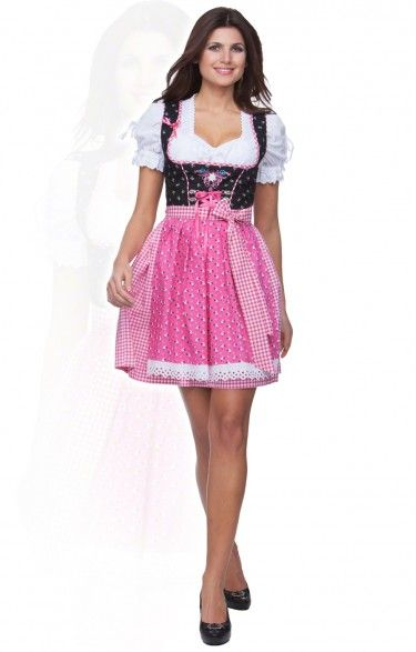 German mini dirndl 2pcs. - Babs - pink 50cm