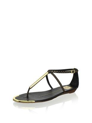 58% OFF DV by Dolce Vita Women's Archer T-Strap Sandal (Black/Gold Stella)