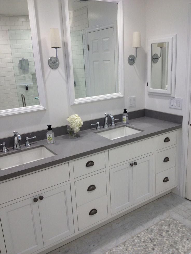 White Bathroom Master Bath Gray Quartz Subway Tile Cup
