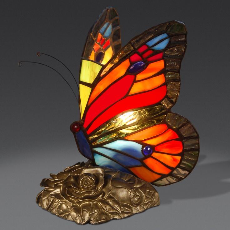 AB08010 Butterfly Tiffany Style Lamp Www.artedalmondo.it.  BuntglaslampenSchmelzglasGlasschmetterlingGlas ...