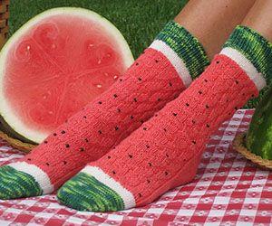 Knitted Watermelon Socks http://www.thisiswhyimbroke.com/knitted-watermelon-socks