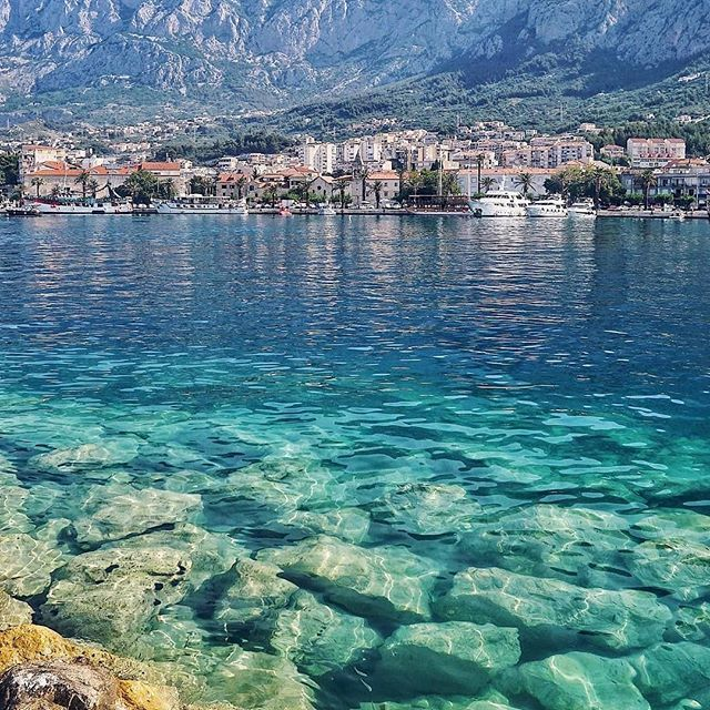 #Repost @coastalcroatia (@get_repost)  I always feel so calm and peaceful in Makarska - must have something to do with the varying shades of blue abundant pine and palm trees the crystal clear sea and the majestic mountains.