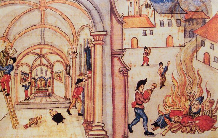 ICONOCLASM: Protestant mobs in many cities took down and smashed statues, stained-glass windows, and paintings. This was an example of  men and women carrying out the Reformation themselves. The mobs would rethink the church's system of meaning and the relationship between the unseen and the seen.