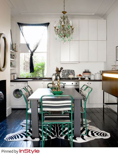 """Tommy Hilfiger's Favorite Fall Home Decor Trends —A Chandelier: """"It adds a dramatic flair to any room—hang one in your kitchen or bedroom for an unexpected twist! Light is to decor, what accessories are to fashion!"""": Chandelier, Decoration Trends, Decor Trends, Unexpected Twists, Turquoise Chairs, Home Decor, Accessories, Green Chairs, Elegant Twists"""