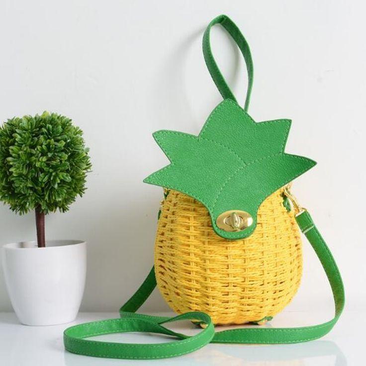Straw Handbag 2017 New Cute Fruit Bag Pineapple Package Pure Hand-Made Woven Circular Women Handbag Shoulder Messenger Bags