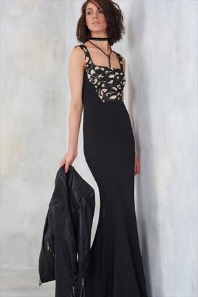 Siyah Payet Detaylı Elbise