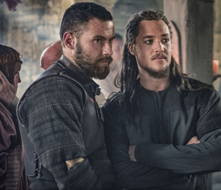 "Alexander Dreymon as Uhtred of Bebbanburg (with Mark Rowley as Finan) in ""The Last Kingdom"" Season 2 From http://www.farfarawaysite.com/section/lastkingdom/gallery2/gallery6/gallery.htm"