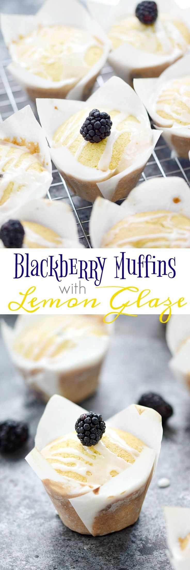 Bakery style muffins studded with blackberries and topped with a lemon glaze, make these Blackberry Muffins with Lemon Glaze a perfect breakfast treat | http://cookingwithcurls.com