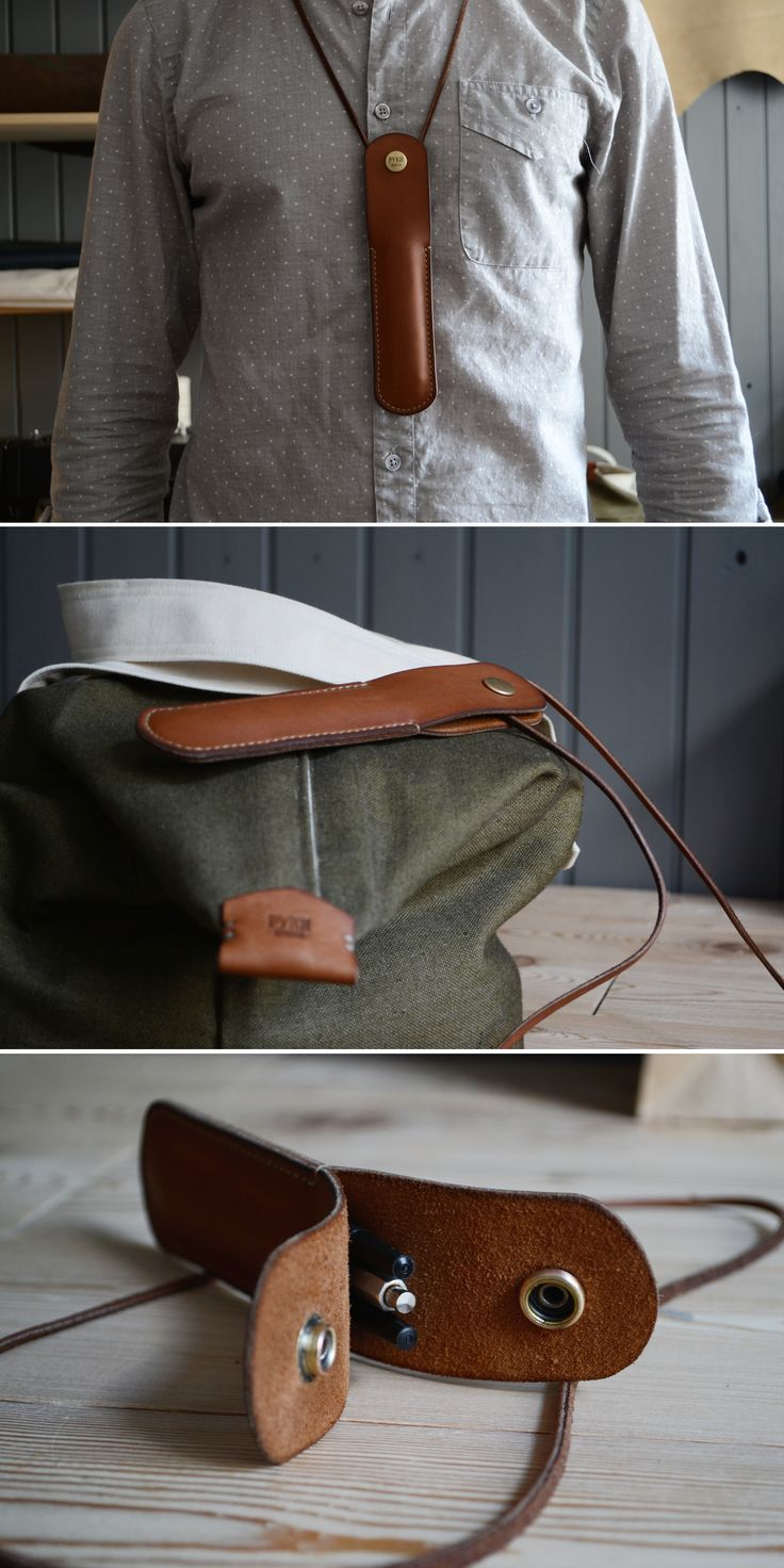 [leather; pencil holder] Case for pen or automatic pencil / $25 with postage