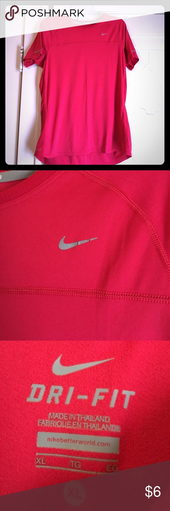 Nike Dri-Fit Running Shirt This is a red Nike Dri-Fit running shirt that has been worn a few times. The Nike symbol and one of the reflective strips are slightly peeling as shown in the pictures but the shirt is still in great condition. Nike Tops Tees - Short Sleeve
