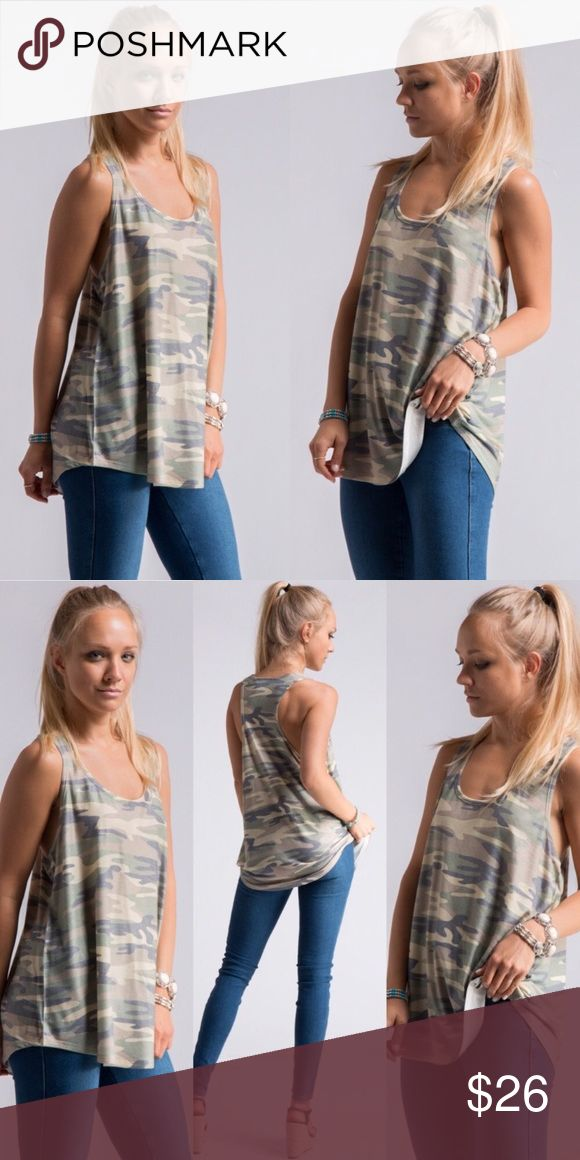 Camo Racerback Tank Top Love love love it for the summer! Tops Tank Tops