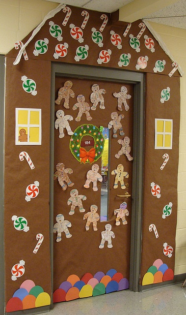 Gingerbread house door design. Use student faces on gingerbread people.