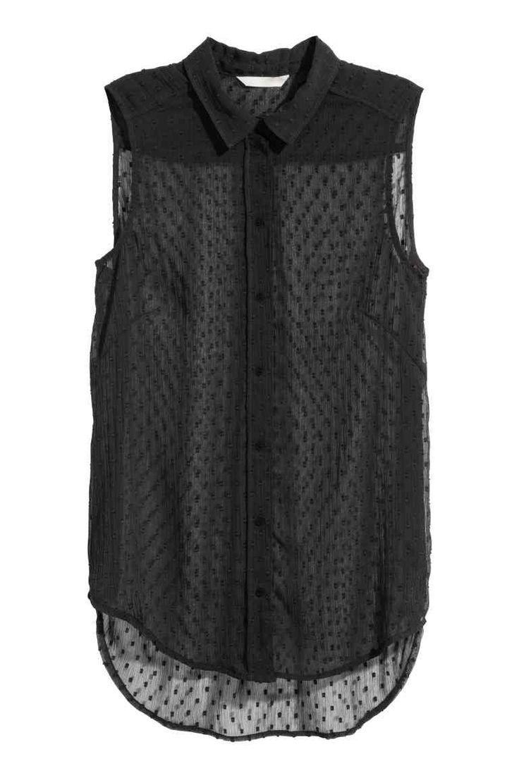 Mouwloze blouse - Zwart - DAMES | H&M NL