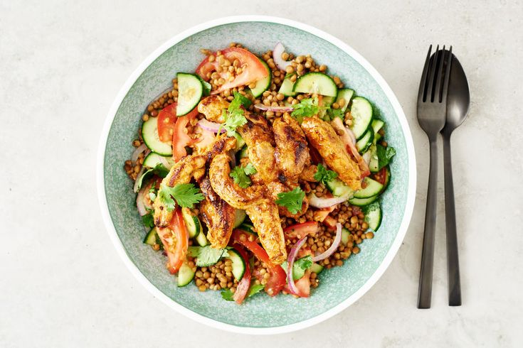 Kari Ayam-style Malaysian Chicken with Lentil, Tomato and Cucumber Salad