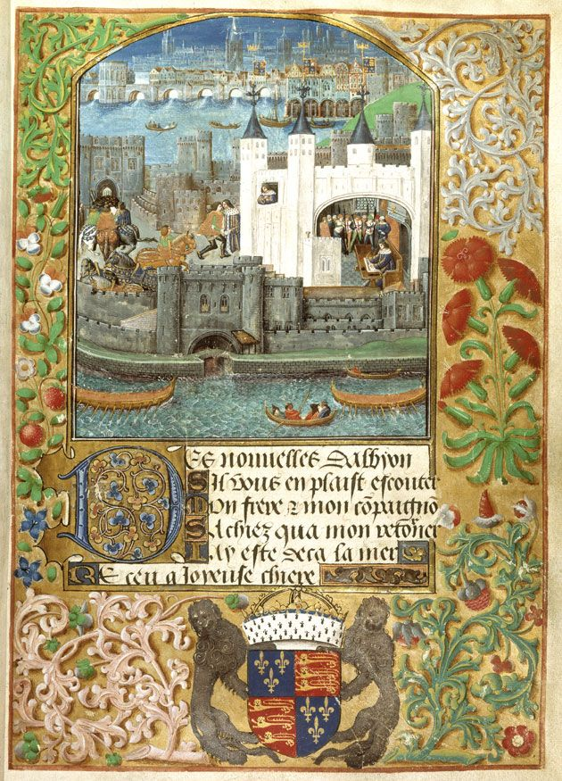 The Tower of London with London Bridge, Royal 16 F II f.73, c.1500