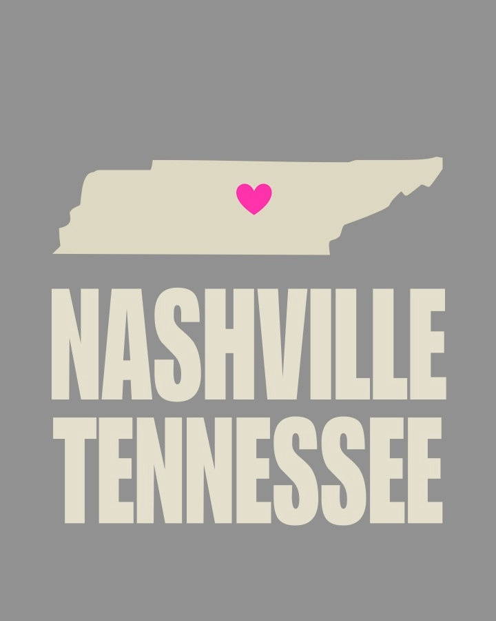".Nashville Tennessee Heart 8"" x 10"" Typography Print - Gray and Pink"