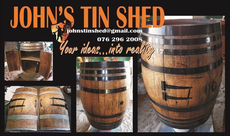 Wine barrel conversion, doors & shelf