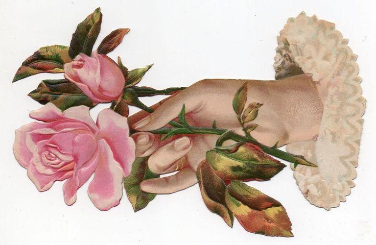 Chromo découpi die cut oblaten glanzbild -  Main &  fleurs - XL - 18 cm
