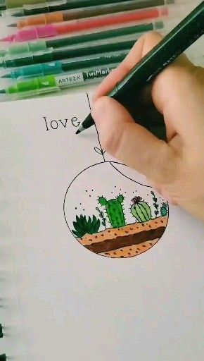 How to draw a simple terrarium