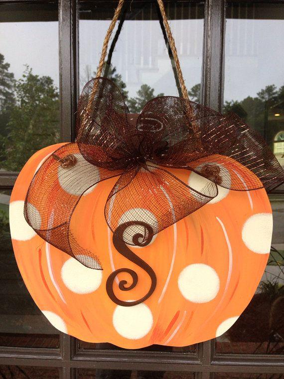 Door Hanger/Fall Front Door Decoration/ Pumpkin Door Decoration on Etsy, $35.00