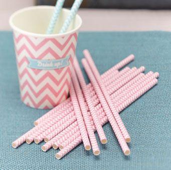 Pack of 25 Chevron powder pink paper straws are great for a wedding or party. Pack of 25.