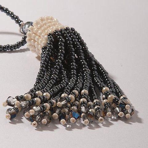 Handmade Dark Silver & Pearl Shimmering #Tassel #Necklace Anthos #Jewellery – Anthos Crafts