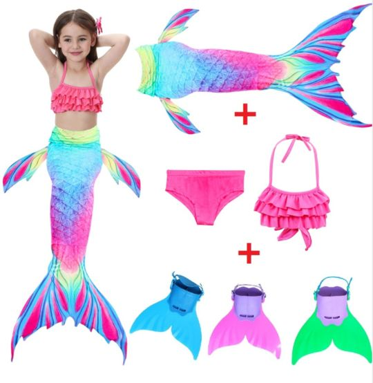 Realistic Best Kids Mermaid Tail Pink Swimsuit Bikini for Swimming with Fins Monofin Flipper