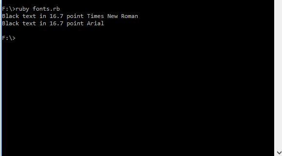 Screenshot of Running Program Code in Ruby (Windows 10).  Taken on 24 February 2017.