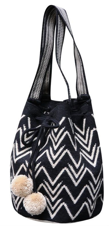 Black and White Boho Geometric Purse with Pom Poms // Wayuu Mochila Tote // MARIYA $195