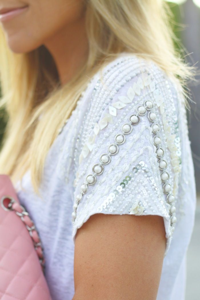 Embellished sleeve on casual t-shirt