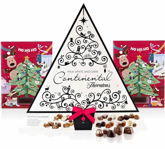 A trio of chocolate advent calendars by Thorntons, the Thorntons Countdown to Christmas Collection, with two advent calendars for children and the, new for Christmas 2012, Thorntons Continental advent calendar.