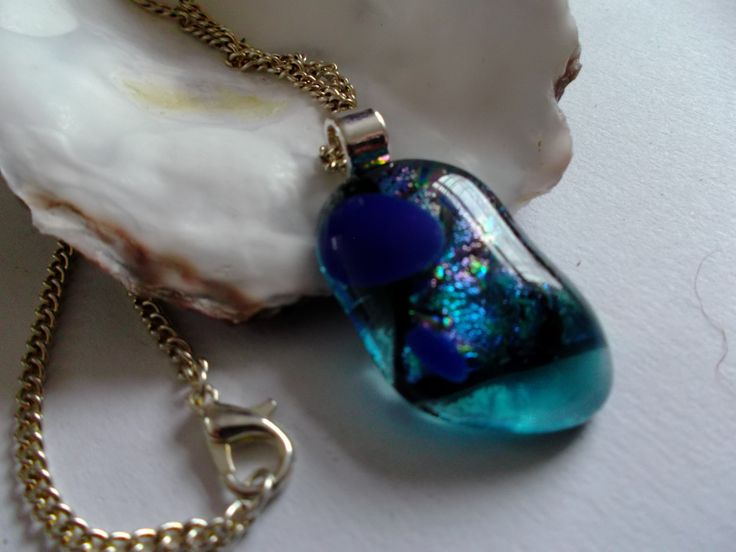 Beautiful unique mosaic of fused glass pendant with a glittering dichroic centre by deblizaccessories on Etsy