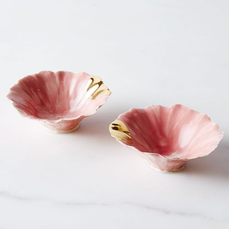 Gold-Dipped Pink Pinch Bowls (Set of 2) on Food52