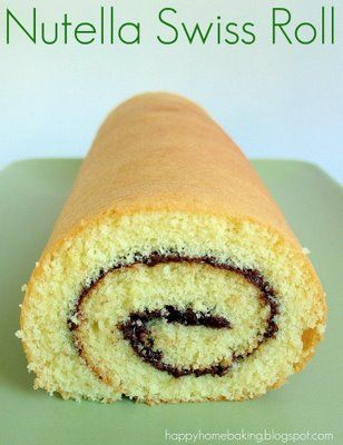 Happy Home Baking: Nutella Swiss Roll - A sponge cake rolled with Nutella. Excellent directions.