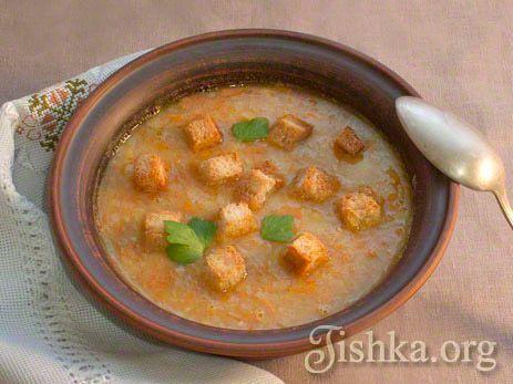 Гороховый суп постный с сухариками рецепт с фото