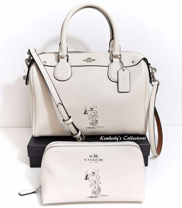 COACH X Peanuts SNOOPY Ltd. Mini Bennett White Satchel Bag & Cosmetic Case NEW #Coach #SatchelCrossBody