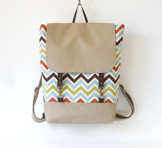 Multi color zigzag / chevron  Backpack , laptop bag, diaper bag with leather closure and 2 front pockets, Design by BagyBags on Etsy, $95.70