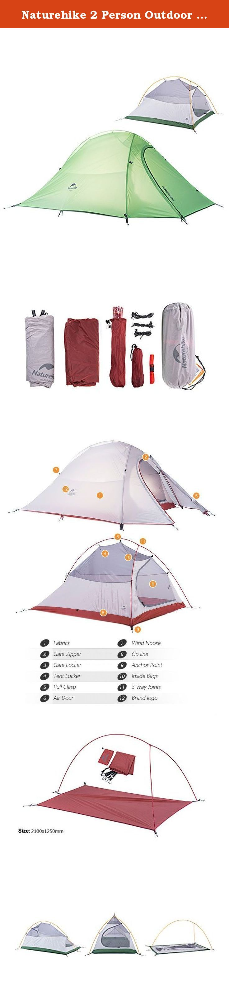 Naturehike 2 Person Outdoor Tent Double-layer Tent Waterproof Camping Tent Lightweight Tent(Green(210T Checked Fabric). Naturehike 2 Person Outdoor Tent Double-layer Tent Waterproof Camping Tent Lightweight Tent(Green(210T Checked Fabric).