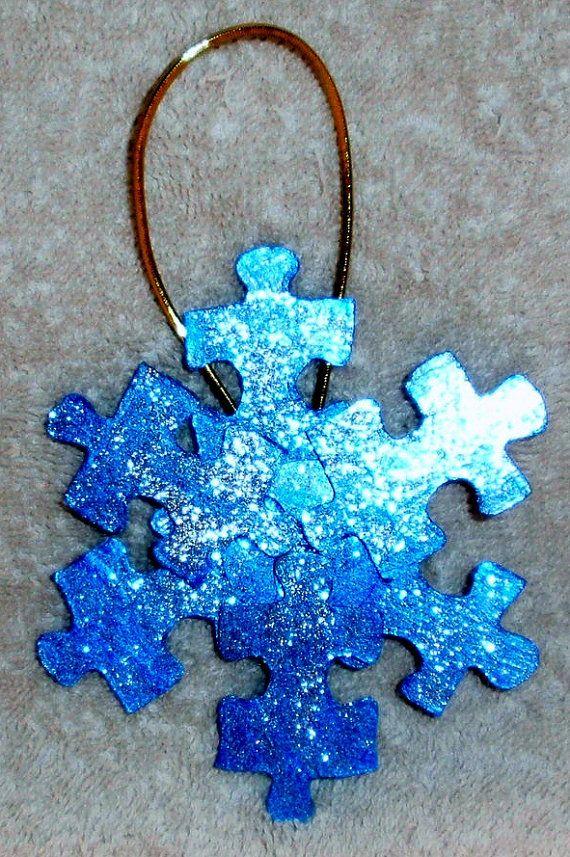Christmas Puzzle Piece Ornaments