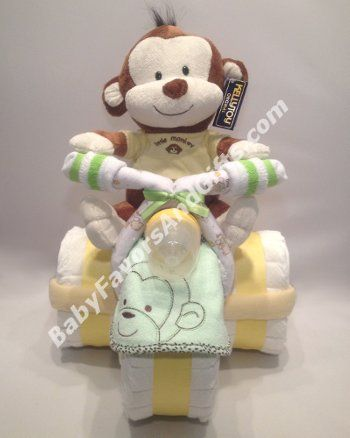 Adorable Monkey Tricycle Diaper Cake