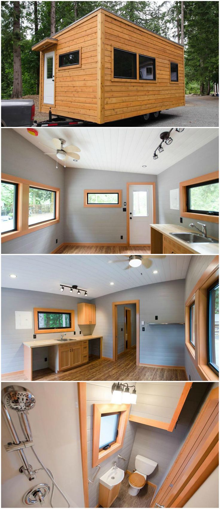 Ptarmigan is a fantastic tiny house designed and built by Rewild Homes.  With its custom birch cabinetry, fir trim, and modern black fixtures, the Ptarmigan offers a luxurious self-contained suite, perfect for a retirement home or rental property.  The kitchen has soft-closing drawers and cabinets throughout, a combo washer/dryer, and an under counter refrigerator. The ample counter space has room for an electric cooktop.
