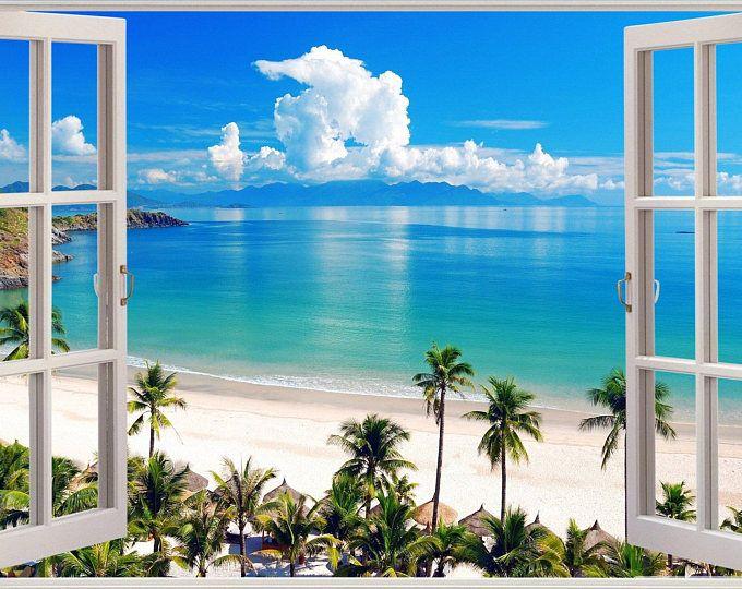 Island Beach Wall Decal 3d Window Tropical Beach Palm Tree Wall