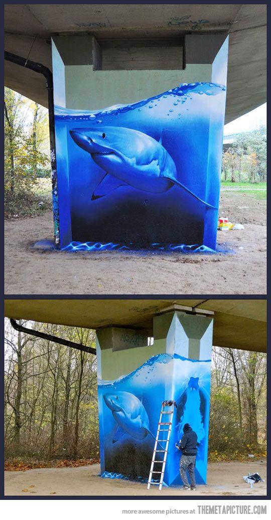 Amazing Street Art - Shark - by Unknown artist
