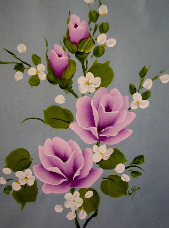 Pintado a mano de papel regalo bolsa azul lila por pinkrose1611