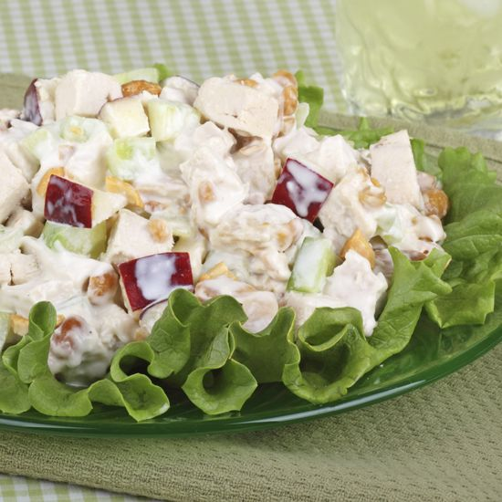 A Reader Recipe: Healthy Chicken Salad. Mix yogurt, grapes, apples, and nuts. Combine chicken and yogurt mixture and place on top of salad.