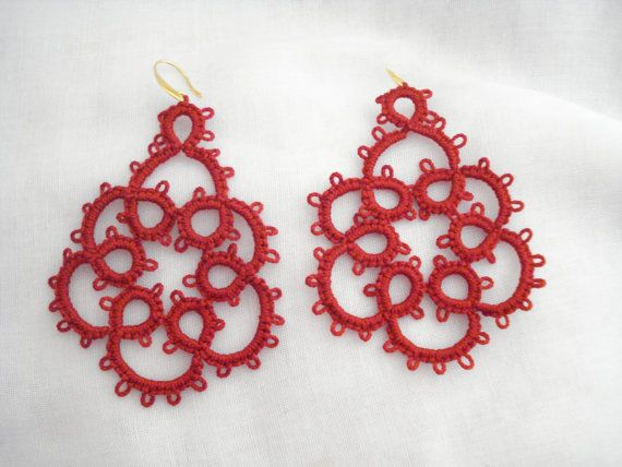 Red lace earrings Tatting lace earrings Needle tatting by Poppyg