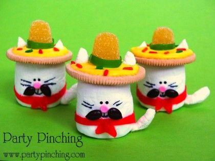 cinco de mayo ideas, cinco de mayo desserts, cinco de mayo for kids, fiesta ideas, cute cat marshmallows, sombrero cookies