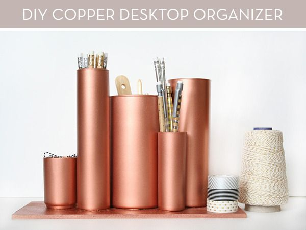 How To: Make an Anthropologie-Inspired Copper Desktop Organizer » Curbly | DIY Design Community