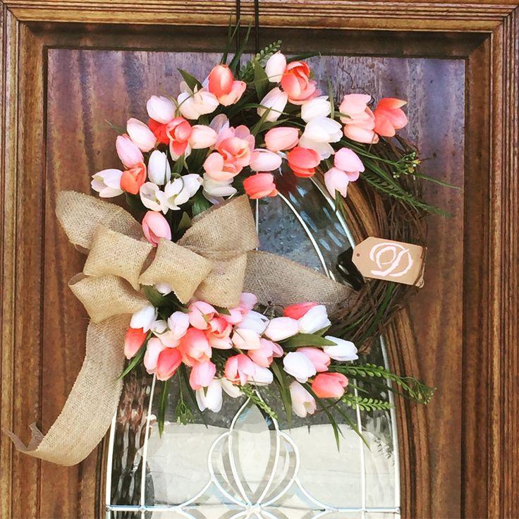 Spring Tulip Wreath Wreaths For Front Door Double