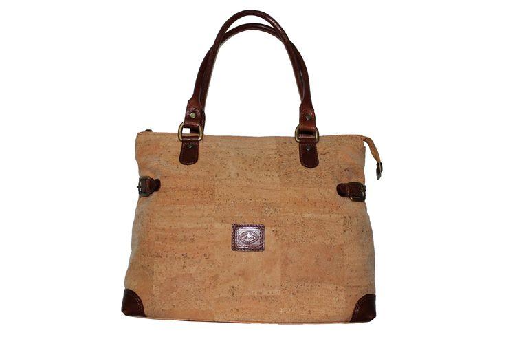 Handbag Veronica  Cork Handbag with leather details and 2 side buckles .